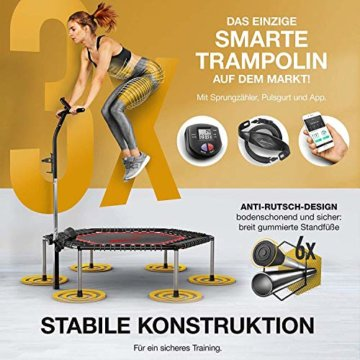 Smart Fitness Trampolin mit APP & Pulsgurt